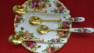 Set of 4 StunnIng Tea Spoons Good match for  Royal Albert Old Country Roses
