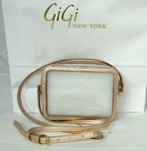 GiGi New York Collins Clear Crossbody Stadium Approved Rose Gold Leather Trim