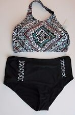 Blu C Women's 3X Tribal Print Bikini Swimsuit Black High Neck/Waist Bottoms
