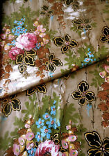 Antique Art Deco Roses Floral Water Cotton Fabric ~  Pink Blue Olive Black Brown