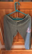 Girls Exersion Jogging Pants XL 18.5 Plus Gray With Silver And Pink Love