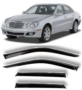 Chrome Trim Window Visors Guard Vent Deflectors For Mercedes E W211 Sd 2002-2009