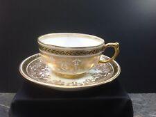 Vintage J.P. Limoges France Jean Pouyat Gold/Green Cup & Saucer