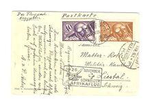 Schweiz Briefmarken Karte von 1926 Flugpost Mi 181, 182