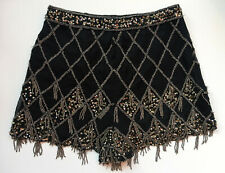 River Island Black Sequin Beaded Flapper 1920s Party Shorts Hotpants Size 8