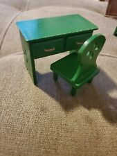 Vintage Epoch Sylvanian Families Calico Critters 1985 Green Desk & Chair