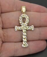 "2."" Real 10K Yellow Gold Huge Ankh Cross Jesus Miami Cuban Pendant Charm 2.2gr"