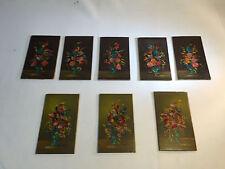 Vintage Mini Floral Oil Paintings of Flowers in vases 5 Bertagin and  3 Spimosa
