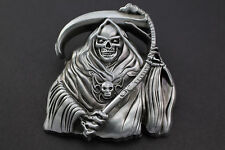 METAL GRIM REAPER BELT BUCKLE SOLID GOTHIC GREY SKULL