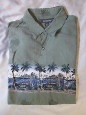 Croft & Barrow Men's Hawaiian Shirt Green Rayon Large Woody Cars Surf Boards