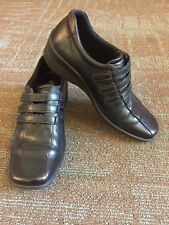 Women's Black ECCO Three Strap Corse Wedge Loafer Walking Shoes, size 37 6-6.5