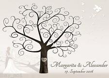 Fingerabdruck Hochzeitsbaum Leinwand Weddingtree SW Sepia neutral 60x40 Motiv47