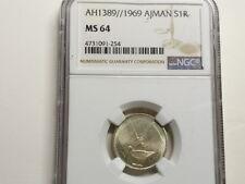 Ajman United Arab Emirate 1969, Riyal, KM-1.1, Silver Coin, NGC MS 64 UNC