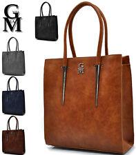 GM ITALY borsa donna pelle rigida cuoio spalla tracolla manici pelle grande moda