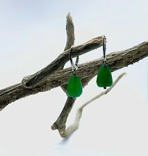 GREEN JADE DROP EARRINGS WITH 925 STERLING SILVER. GIFT PACKAGED