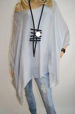 14 16 18 20 Italian Boutique Silk Lagenlook Plus Size Tunic Poncho 2Pc Top Grey