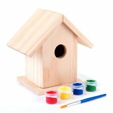 More details for paint your own wooden bird house kit small garden nesting craft box