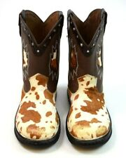 Double H Cowboy Boots Brown Calf Hair On Leather Studded Western Womens 8.5 M