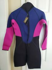 New listing Goldfin 3mm Women's Shorty long sleeved, zip Wetsuit Pink/Blue/Black  SMALL*NWT*