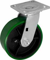 "CasterHQ- Medium Duty 8""X 2"" Green Polyurethane ON Iron Wheel - Swivel Caster 1,"