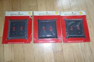 NOS Vintage Dexter Lock Styleset Wallplate Outlet Cover Lot of 3