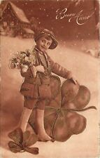 New Year~Victorian Boy Out in Snow~Giant Shamrock~Sepia~Silver Filigree~France