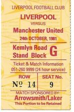 Liverpool/Manchester United 1981/1982 ticket