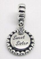 Authentic PANDORA SWEET SISTER Dangle Charm W/ Pandora TAG & HINGED BOX#791126CZ