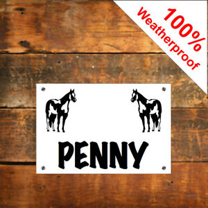 Custom Stable door sign with horse Pony name or other text 1958BKW Weatherproof