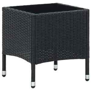 vidaXL Garden Table Black 40x40x45 cm Poly Rattan Outdoor Furniture Side Table