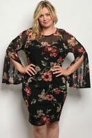 Women's Plus Size Black Floral Long Slit Bell Sleeve Bodycon Dress 1XL NEW