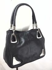 PIERRE CARDIN Genuine Black Leather Purse Satchel Shoulder Bag RARE **
