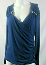 Michael Kors Blouse Blue V Neck LowCut  w/ sm Zippers Fitted w/ Gathers Sexy L
