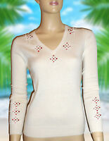 LUXE OH `DOR® 100% Cashmere Pullover white red weiß rot Kristalle Gr 44/46 L