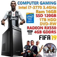 PC COMPUTER GIOCO GAMING QUAD CORE i7-3770 RAM 16GB SSD 120GB HDD 1TB RX 550 4GB