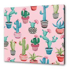 TROPICAL CACTUS AND SUCCULENTS PINK MODERN BOX CANVAS PRINT WALL ART PICTURE
