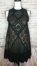 Free People 9735 Angel Lace Open Back Sleeveless Cocktail Dress Sz S.       /FA