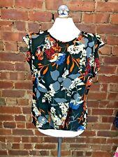 Marina Kaneva Black/Multi Floral Short Frill Sleeve Blouse - Size 10 Crepe