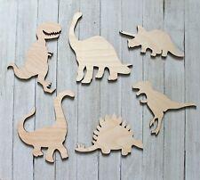 "Large 12"" Set of 6 Dinosaurs T Rex,Brontosaurus + Unfinished Wood Cutout Shapes"
