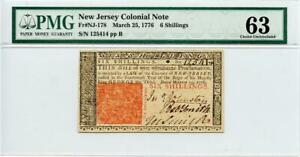1776 New Jersey Colonial Note 6 Shillings PMG 63 Choice Uncirculated Fr#NJ-178
