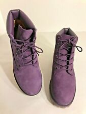 Timberland Big Girl Children's Purple Size 6 Suede Leather Laced Boots