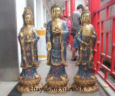 "38"" Tibetan Bronze Cloisonne Three Kwan-Yin Bodhisattva Sakyamuni Buddha Statue"