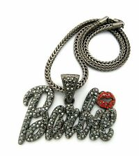 "Women Hip Hop Iced Barbie Black Pendant & 4mm 18"" Franco Chain Fashion Necklace"