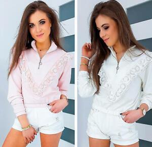 DSTREET Sweatshirt Rollkragen Zipp Langarmshirt Pullover Rüschen Damen Uni