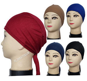 Top Quality Under Scarf Hijab Tie Back Bonnet Cap Chemo Hat Stretchy For Ladies