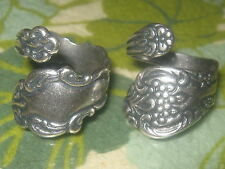 WHOLESALE LOT OF 2  SILVER PLATED FLORAL SPOON RINGS SIZES 6-10 ADJUSTABLE