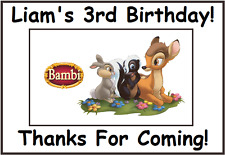"""(9)Personalized Bambi Party Stickers,3 1/4"""",Birthday Labels Supplies Thumper"""