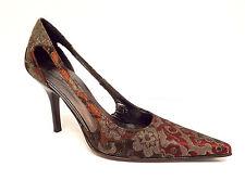 DONALD PLINER Size 8 Gold Brocade Tapestry Heels Pumps Shoes