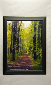 Framed Picture Peaceful Scenic Fall Walk in the Woods w/ Inspirational Message