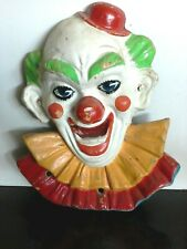 Original 1960s Massive Carnival 68cm Circus Clown Face Fibreglass Hand Painted